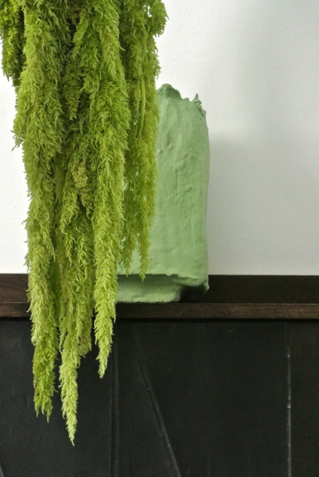 Lichen-green vase w Amaranth flower 1