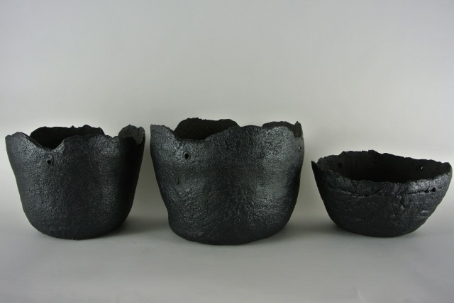 three black planters