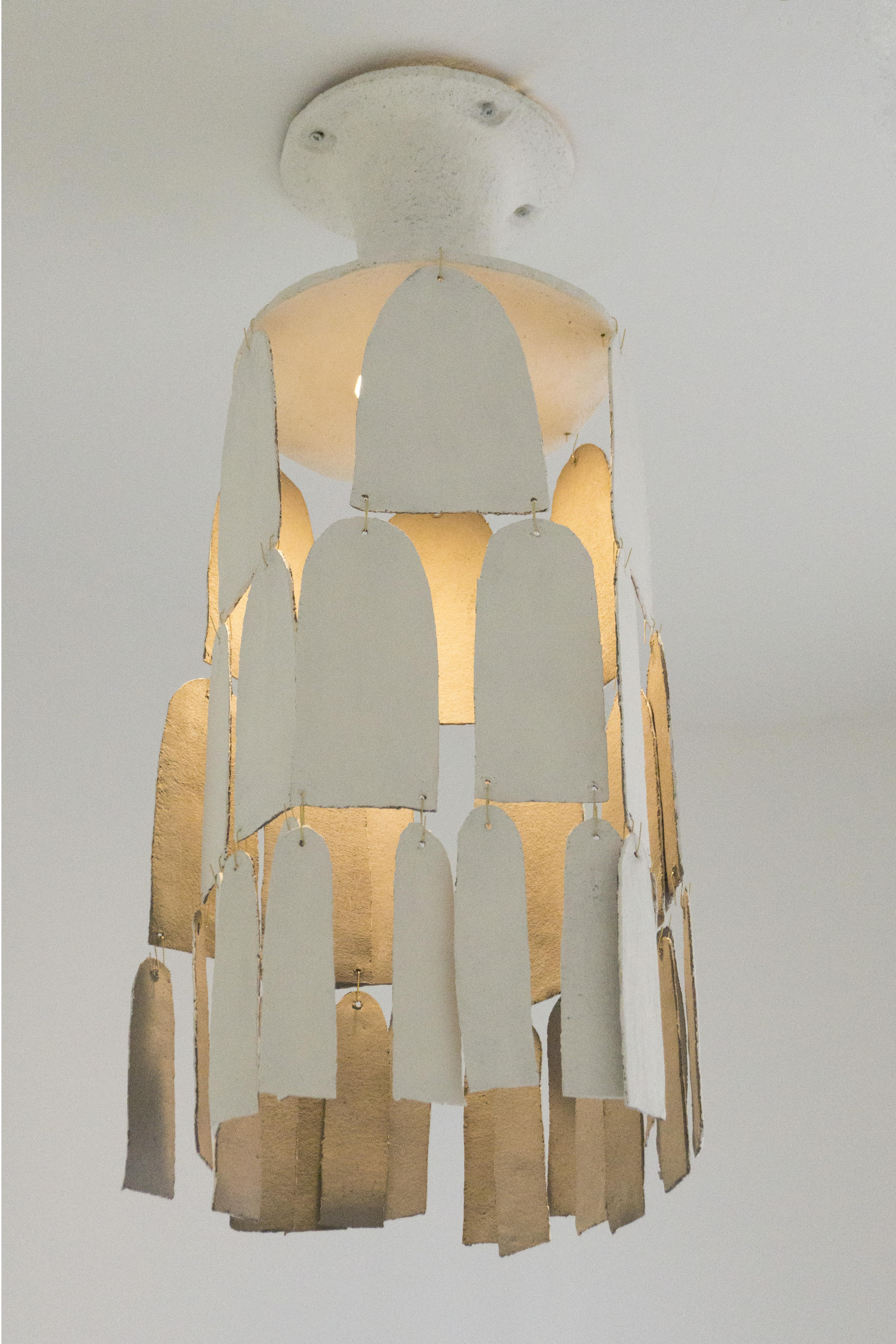White stoneware chandelier JR